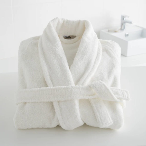 Bathrobe with Scarf collar white color comfort soft high quality obertex turkish production