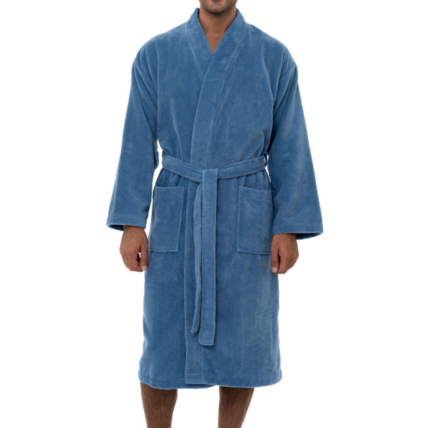 Bathrobe with kimono collar white color comfort soft high quality obertex turkish production light blue color